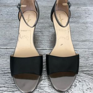 Cole Haan Black & Silver Leather Wedge Sandal Sz 9